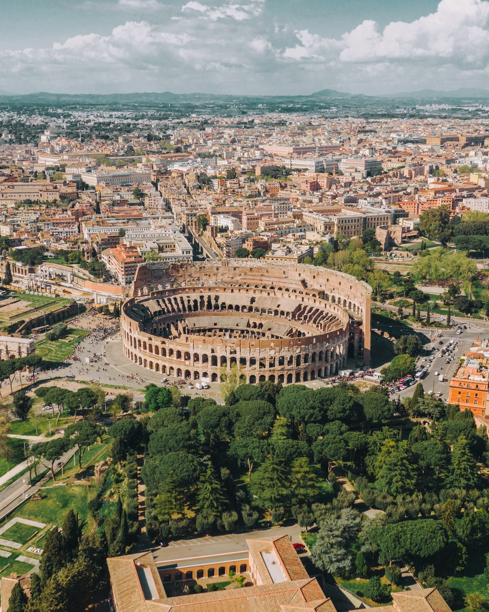 aerial view of Colosseum at Rome Italy