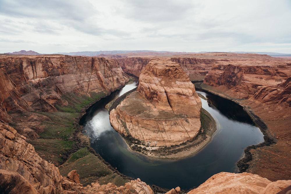 aerial photography of rock formations