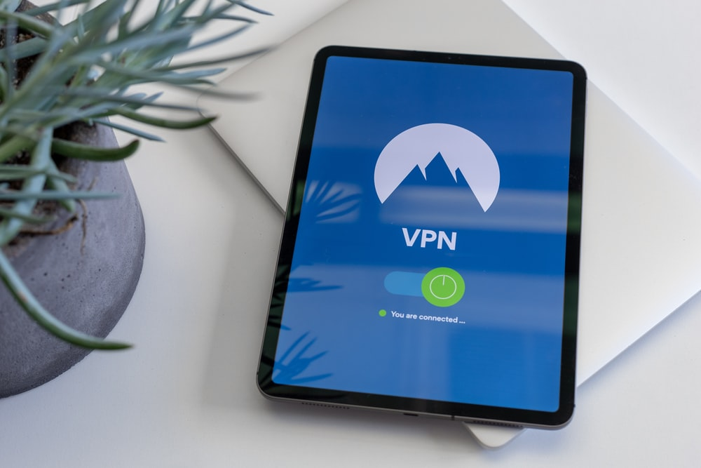 black tablet computer turned on displaying VPN