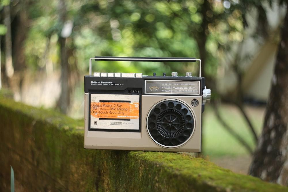beige and black radio