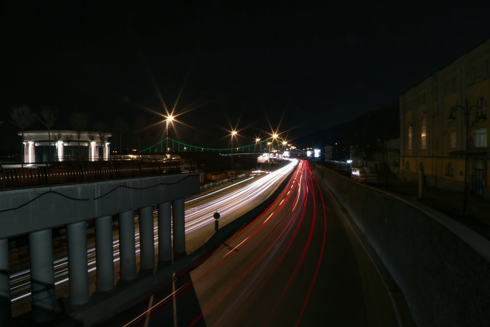 time-lapse photo of road