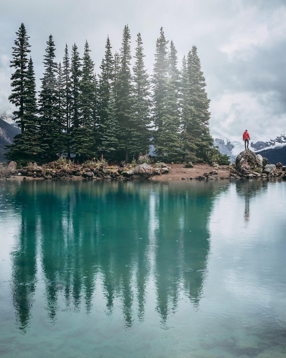 man standing on rock beside lake during daytime