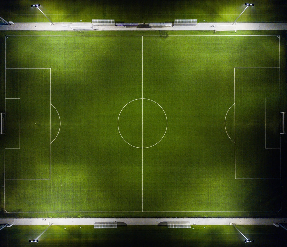 aerial view of football field