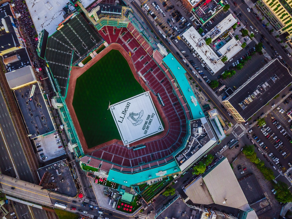 aerial photography of stadium and buildings
