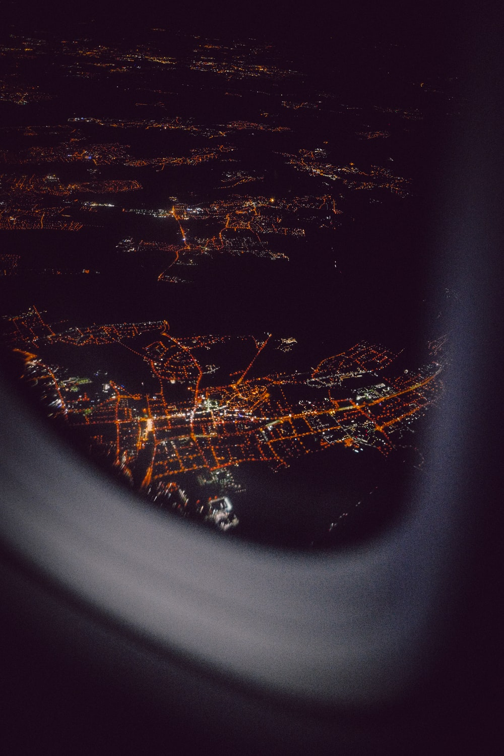 aerial view from airplane's window during night time