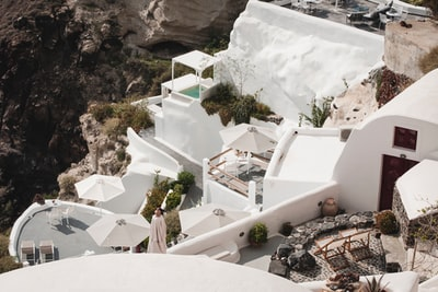white painted building santorini zoom background