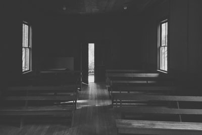 grayscale photo of room