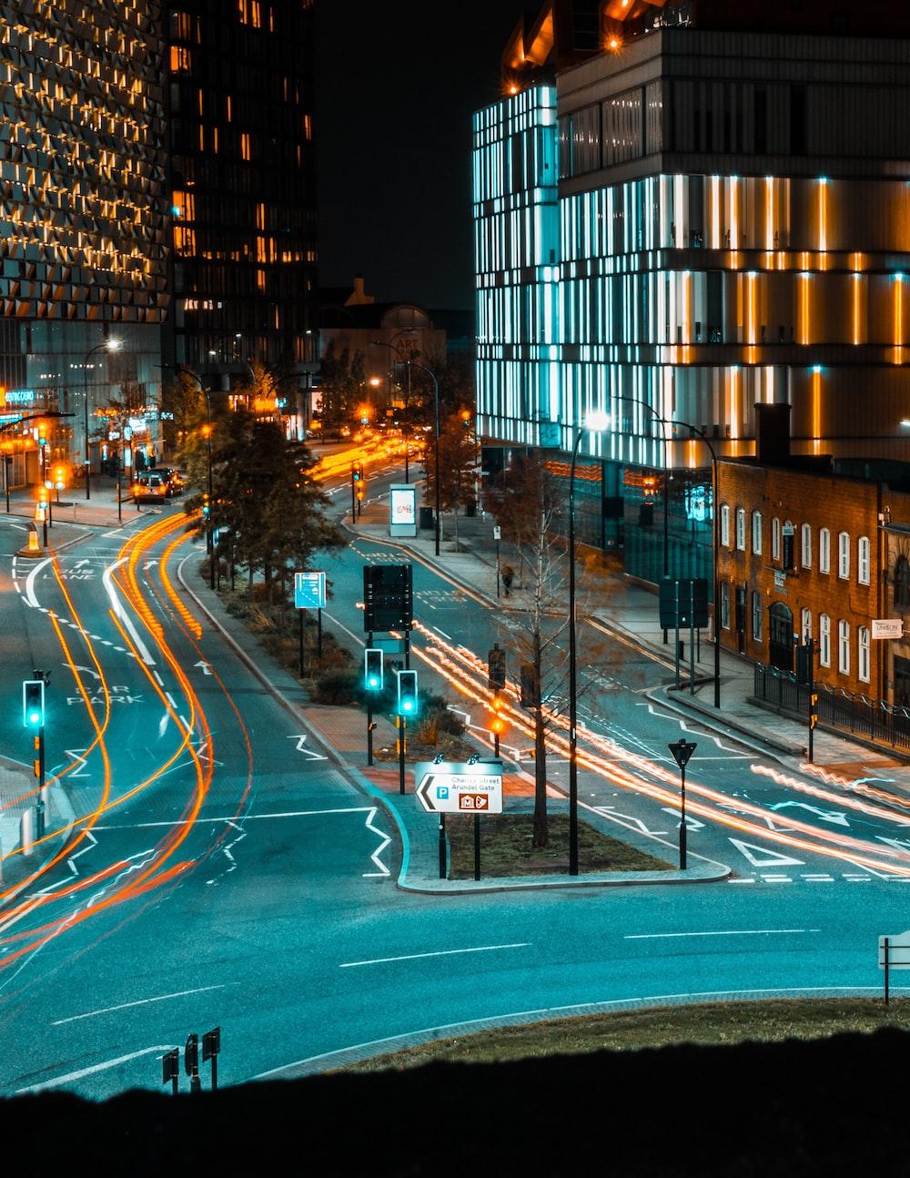 time lapse photo of street light