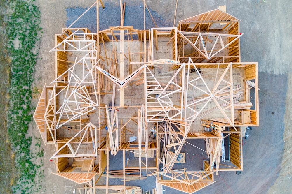 beige wooden house layout