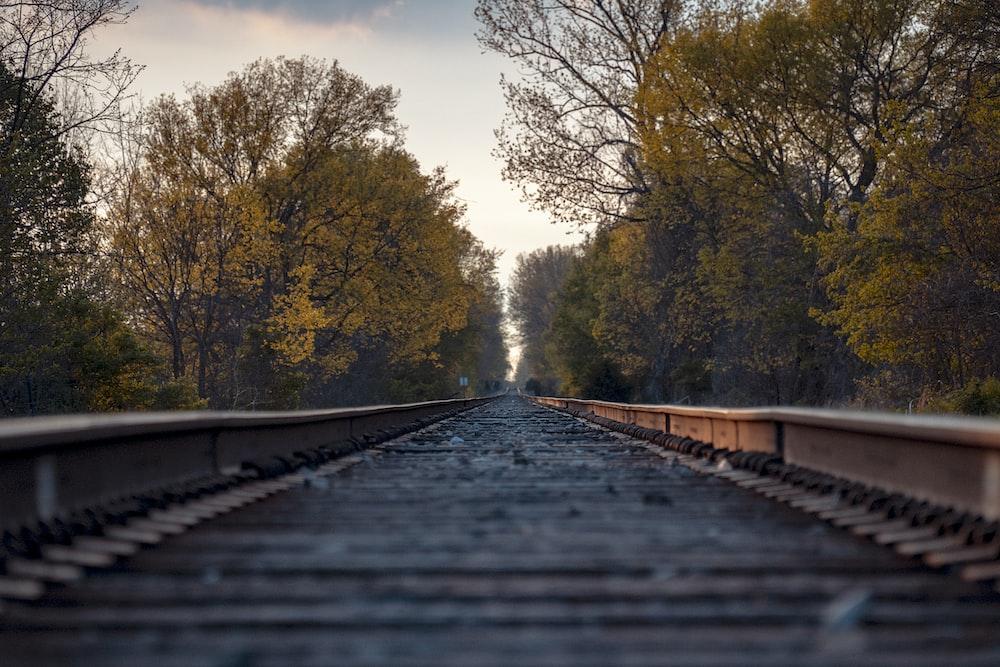 close up photo of train rail
