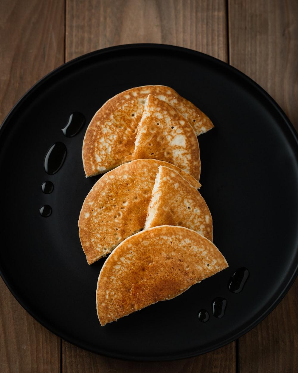 sliced pancakes on plate
