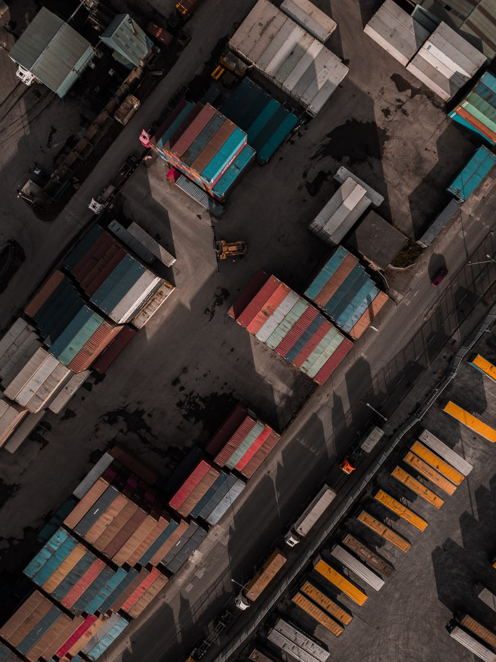 bird's eye view of intermodal container lot
