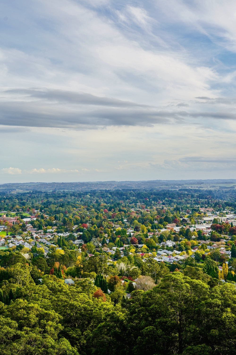 aerial photography of city surrounded by trees under cloudy sky during daytime