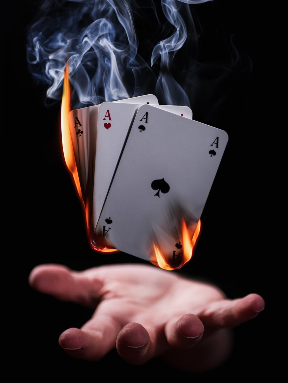 burning playing cards