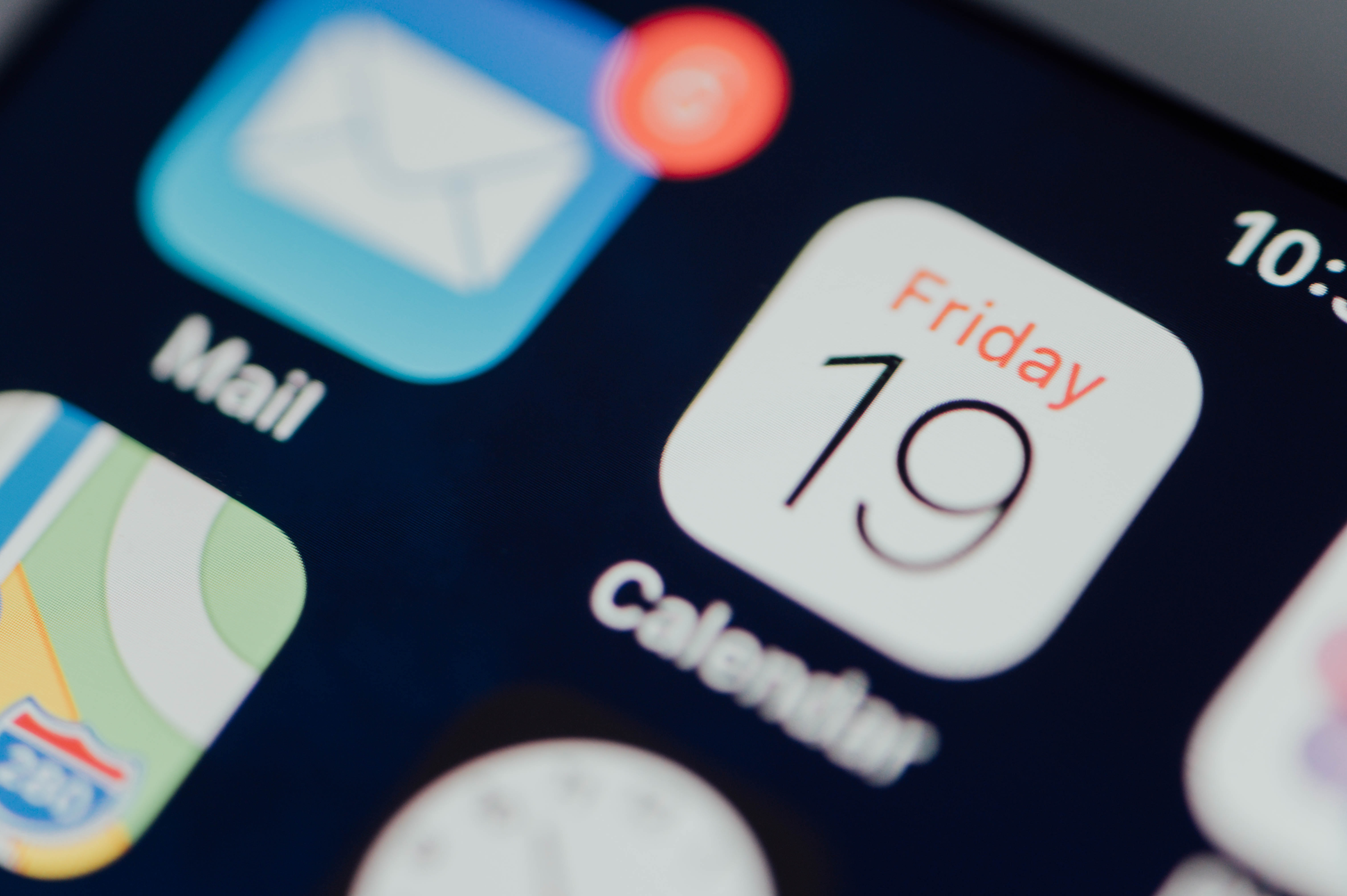 iPhone showing calendar