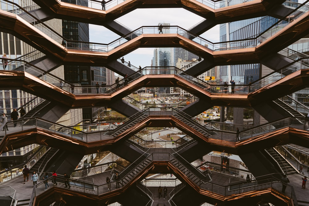 architectural photography of black bridge