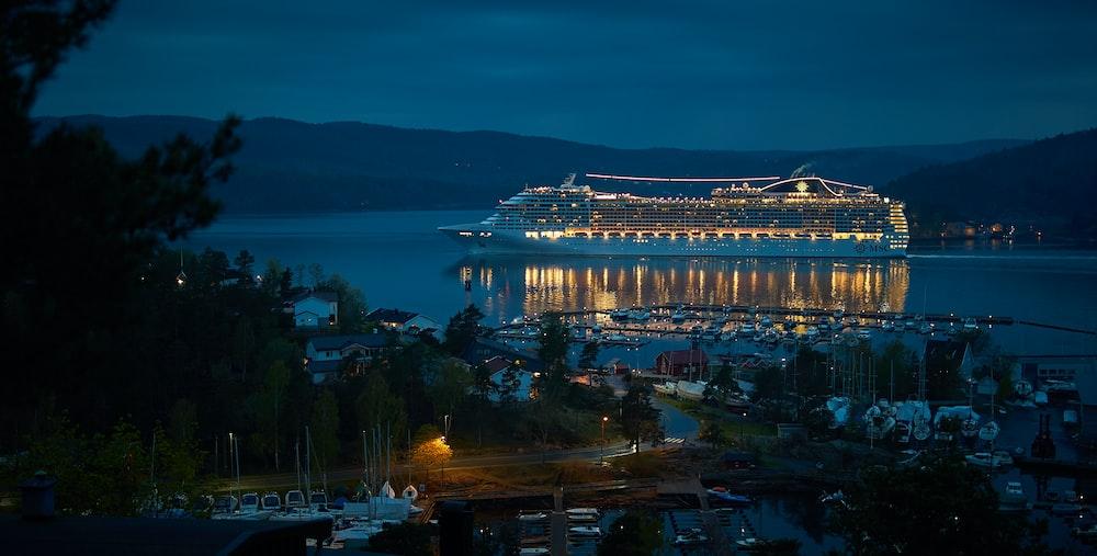 cruise ship near dock at night