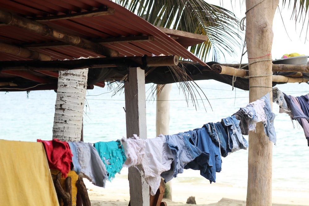 clothes hanged near tree outdoor