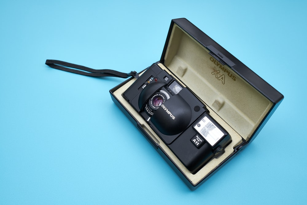 black camera with case