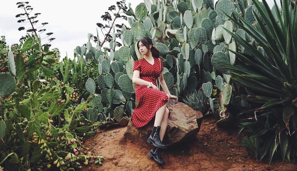 woman sitting on stone near cacti plants