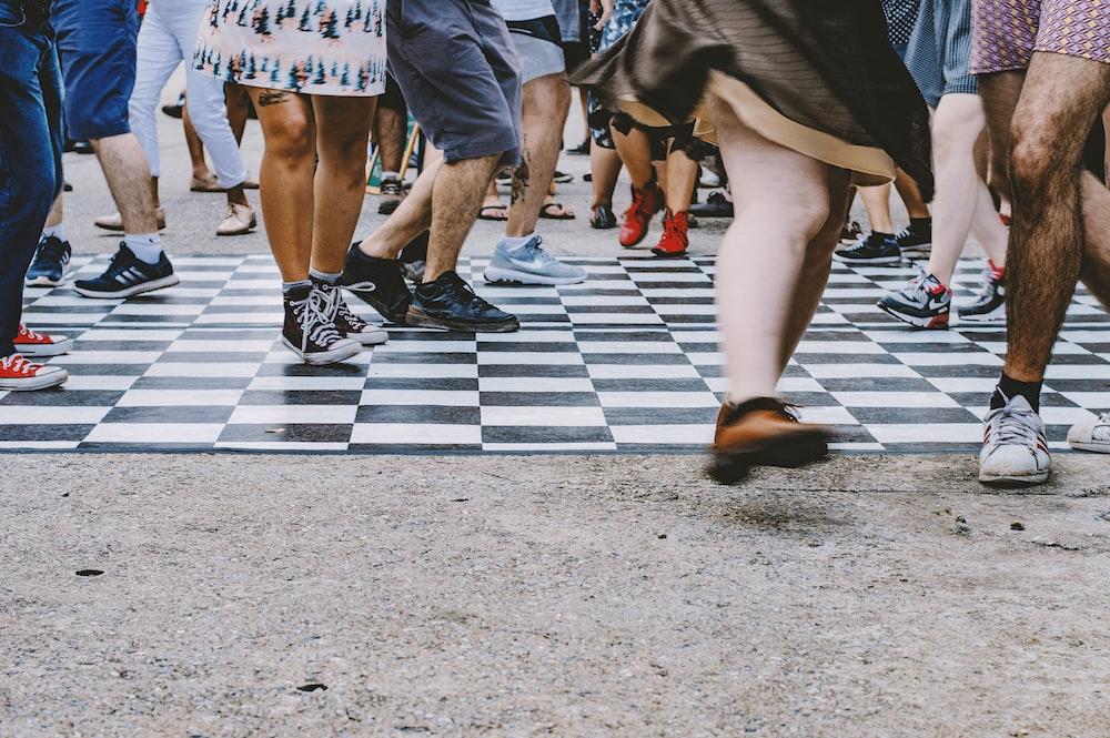 people walking on raod