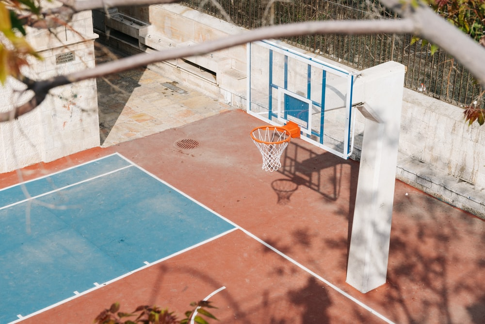 white basketball court