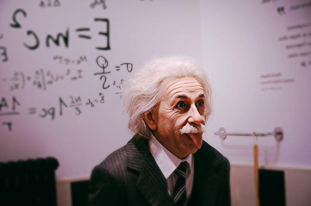Albert Einstein licking tongue