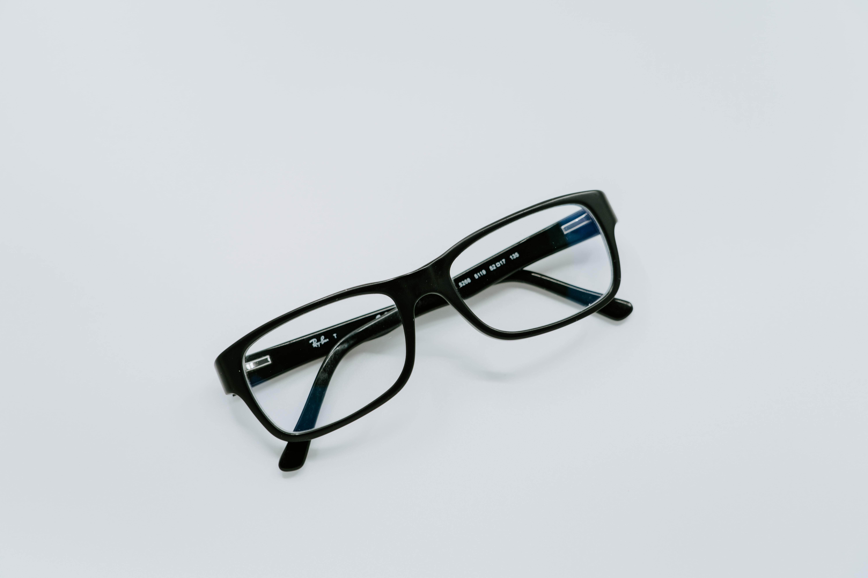 black-framed eyeglasses