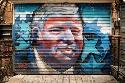 painted garage door political teams background