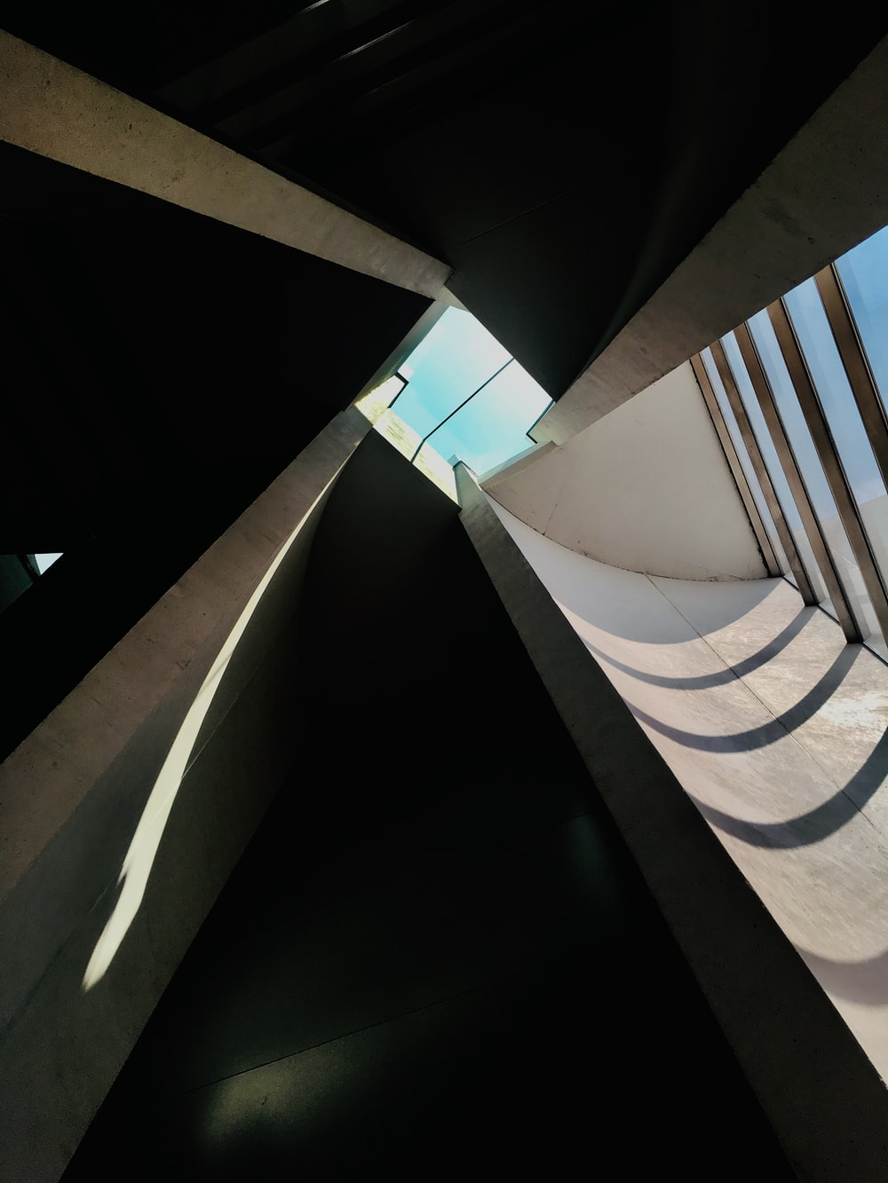 low-angle photography of building interior