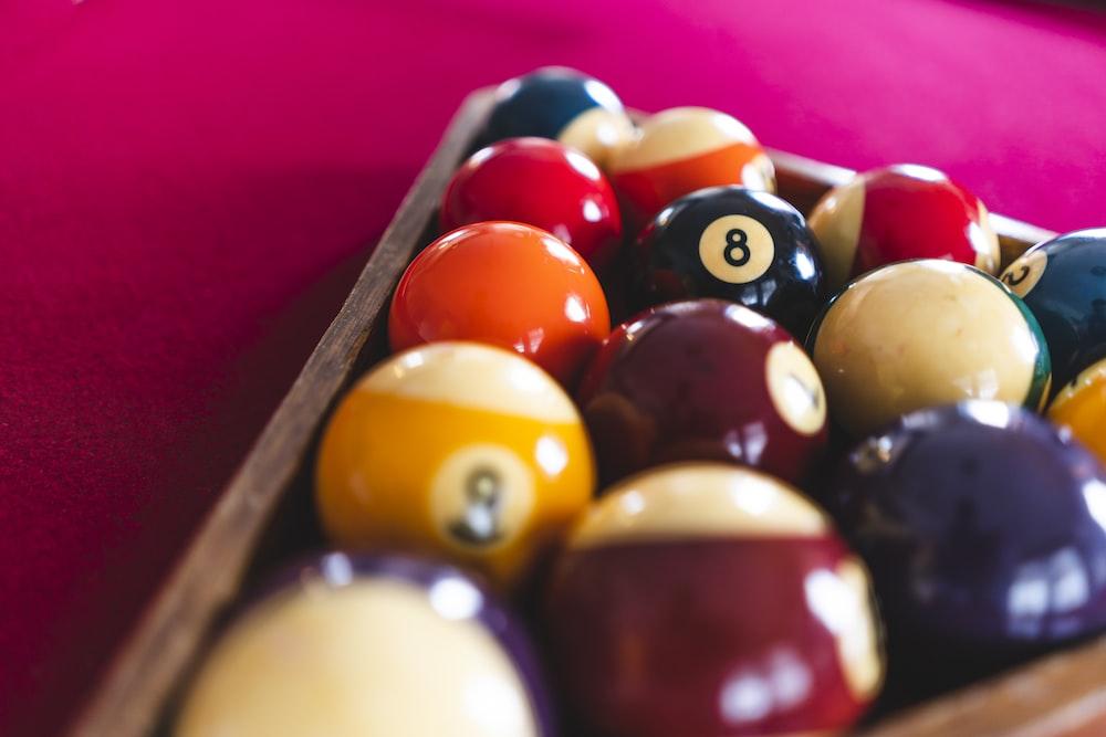 pool ball set on table