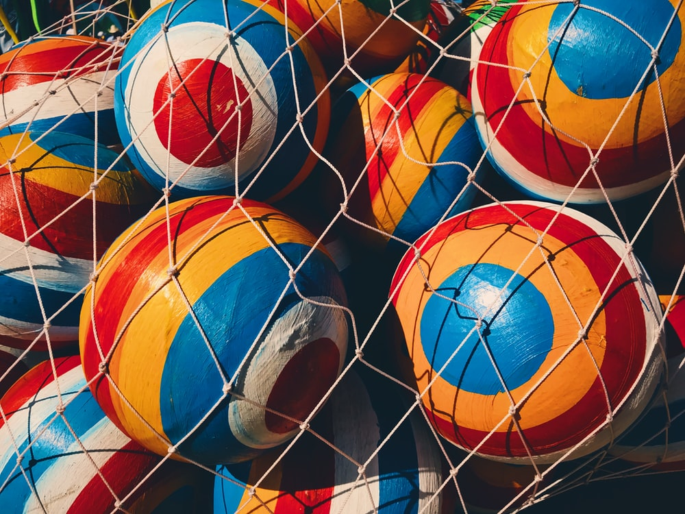 orange-and-blue ball lot