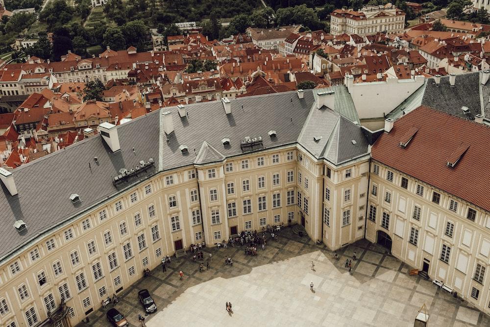 brown concrete buildings aerial photo