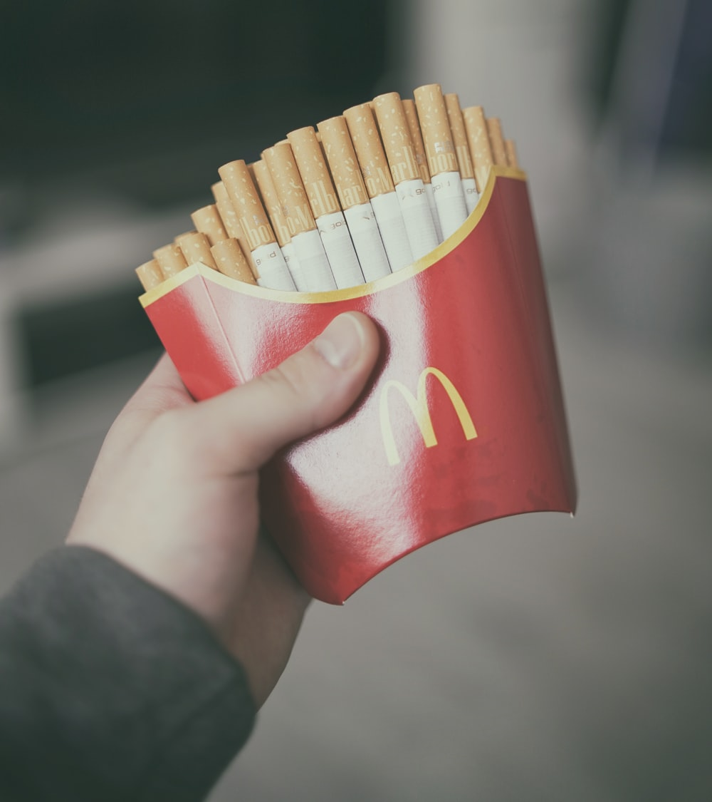 cigarettes in McDonald's fries pack