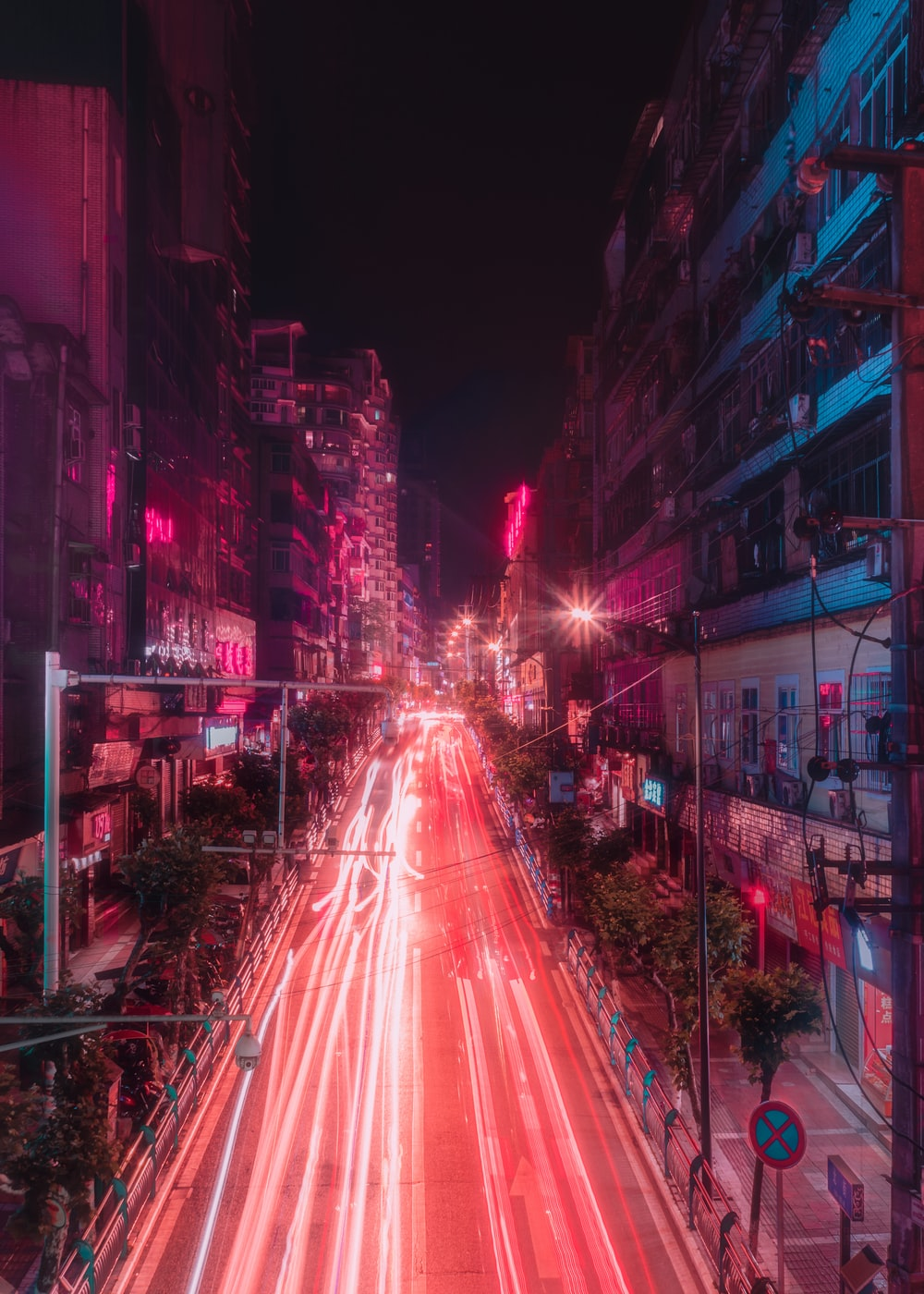 time lapse photography of street at night
