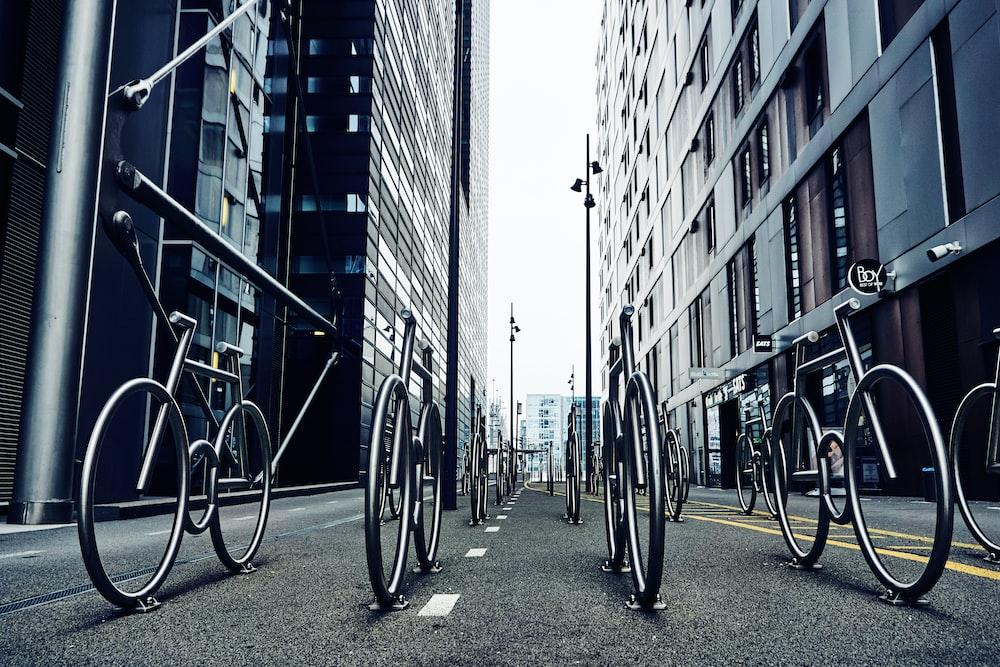 black bicycles on road