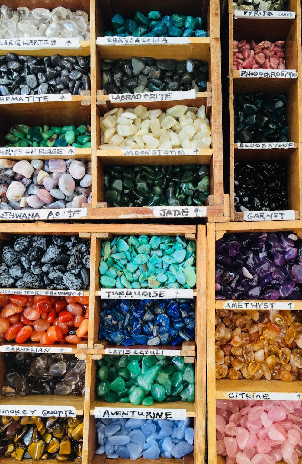 assorted-color gemstone lot on rack