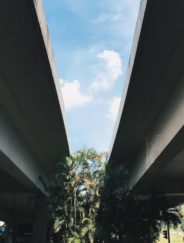Between a highway flyover in Singapore