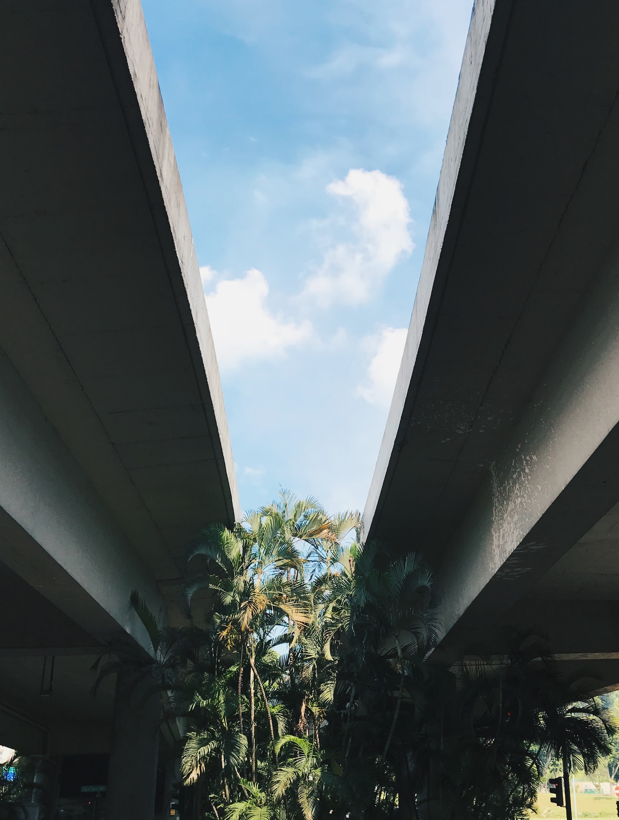 Between a highway flyover in Singapore