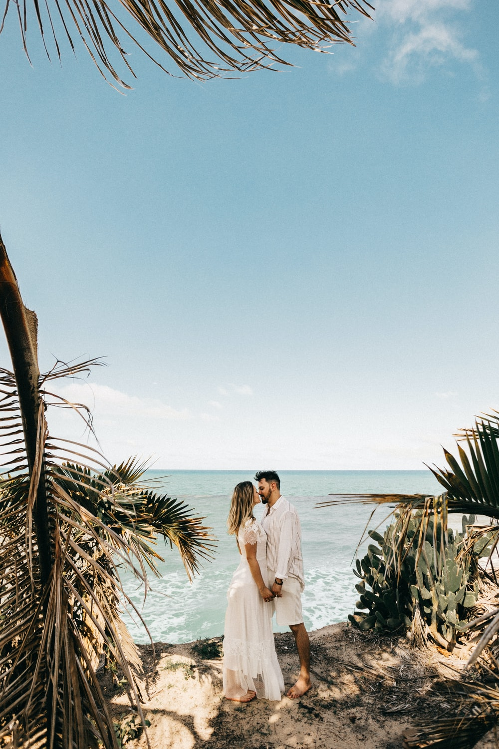 man and woman standing near coconut tree