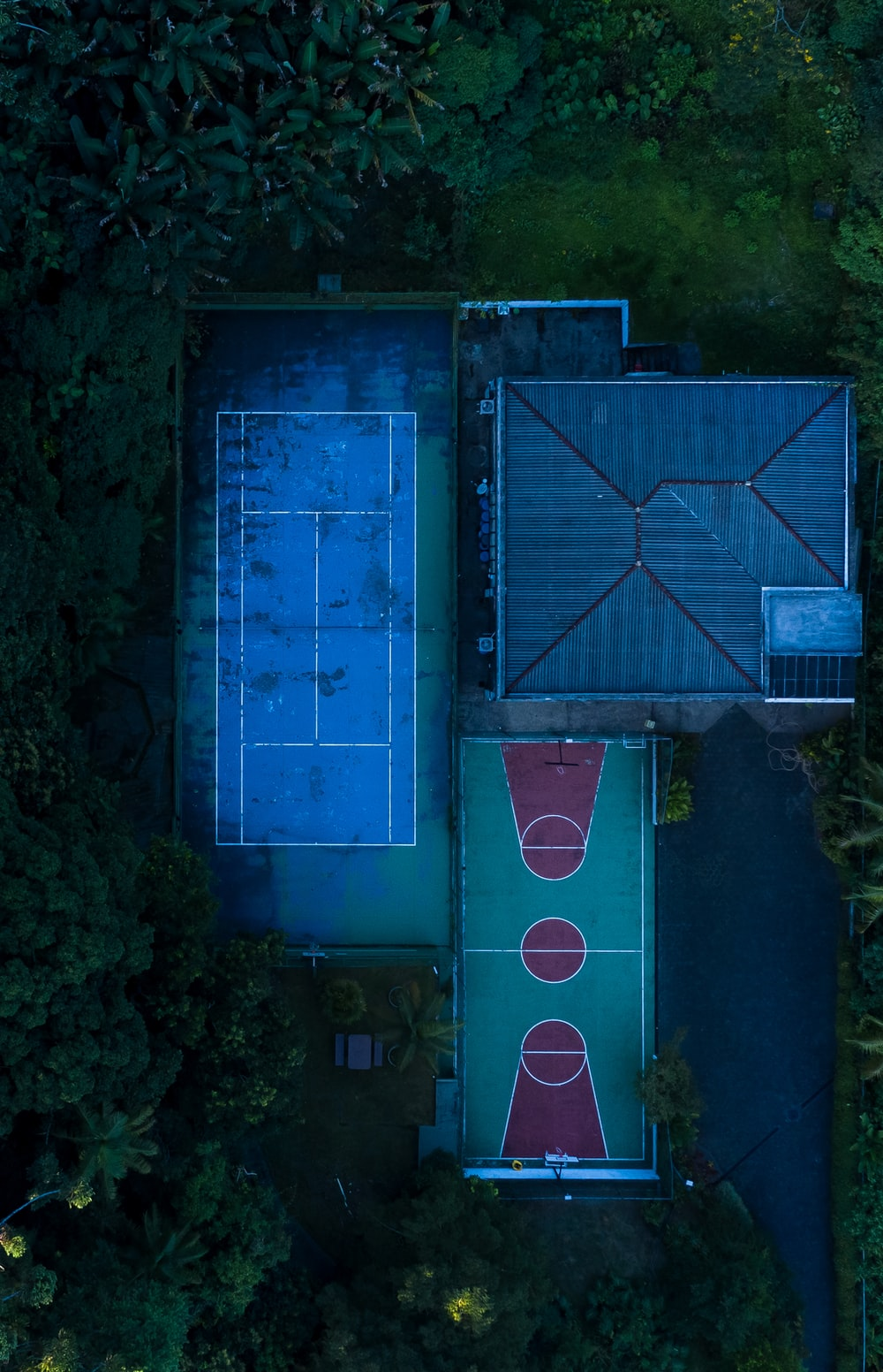 sport fields in aerial photography