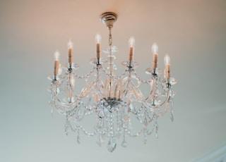 clear glass uplight chandelier