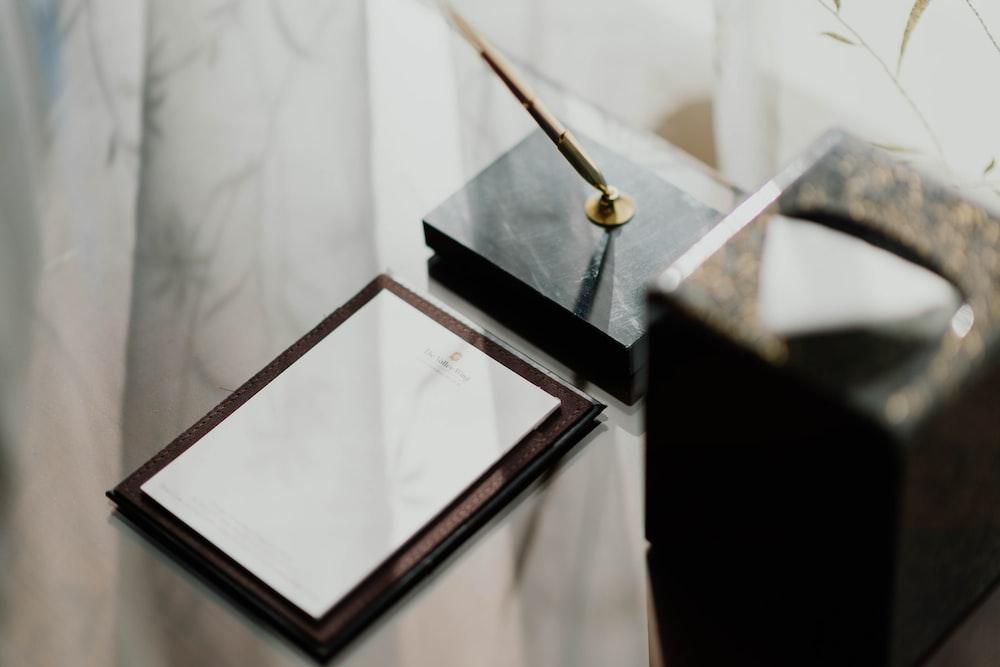 brown framed mirror