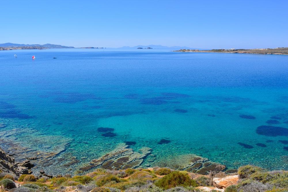 blue sea view under blue skies