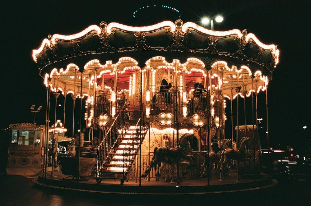 yellow lighted circus carousel
