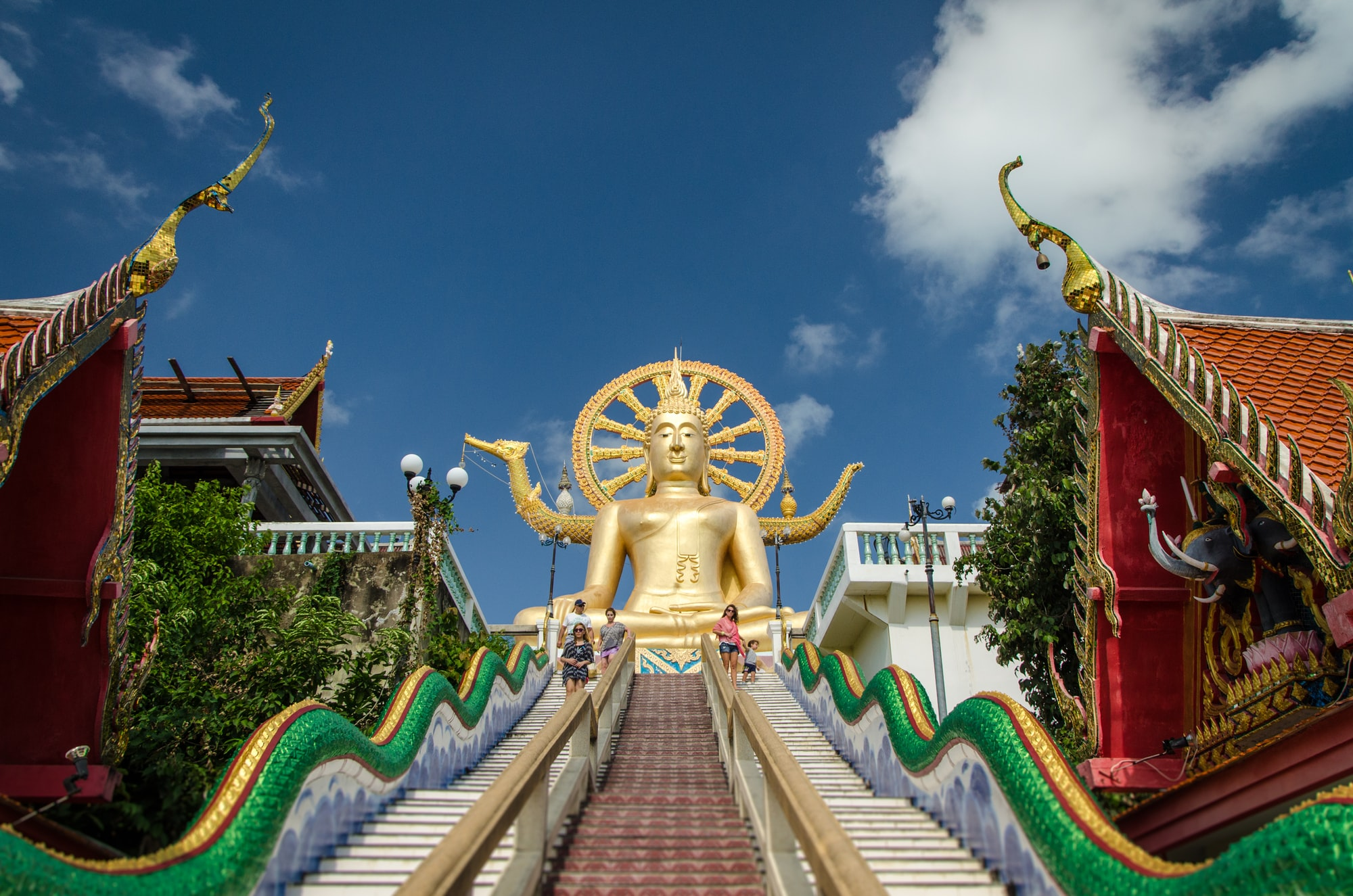 Stairs leading up to the Big Golden Buddha.