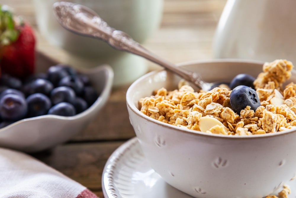 oat with blueberries on white ceramic bowl