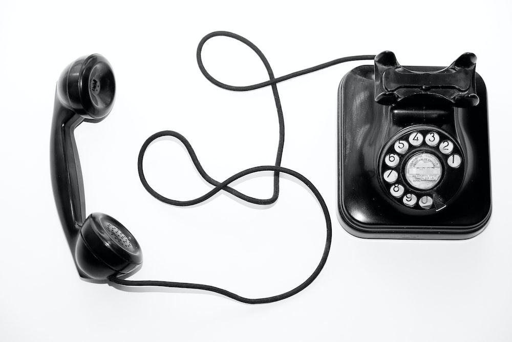 black rotary telephone