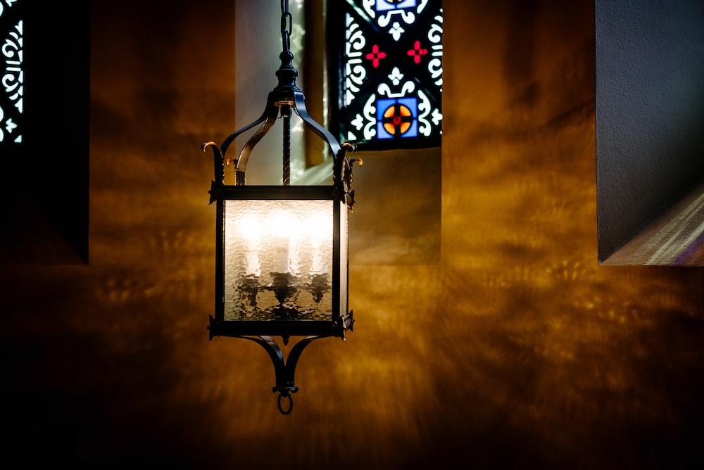 black metal framed glass ceiling light
