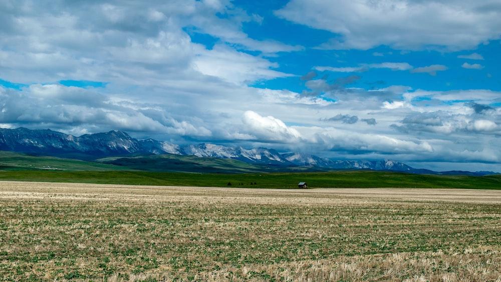 grass field under white clouds at daytime